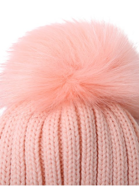 shop Flanging Pom Ball Knitted Beanie -   Mobile