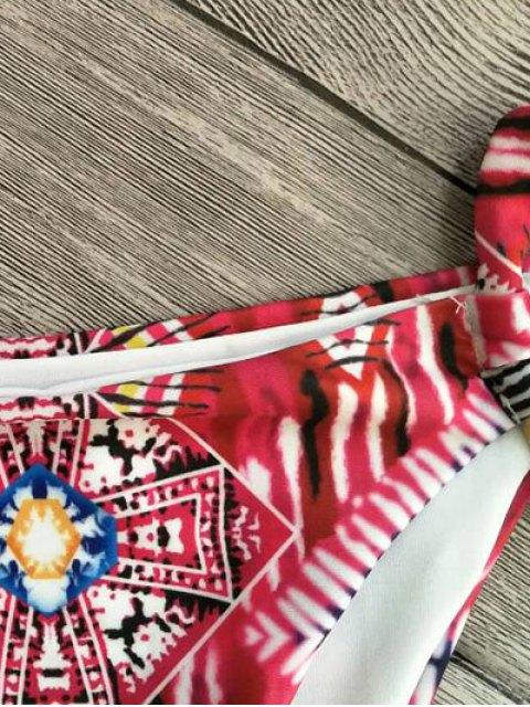 unique Cami Printed Cut Out Bikini Set - RED S Mobile