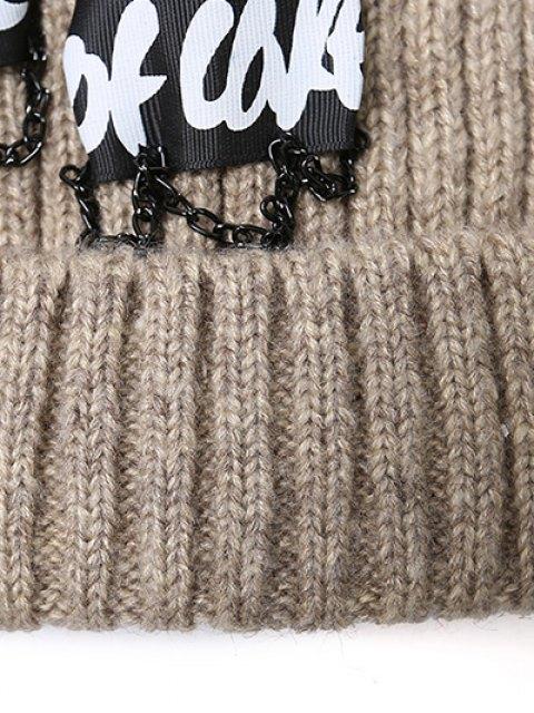 chic Chain Letter Embellished Pom Hat -   Mobile