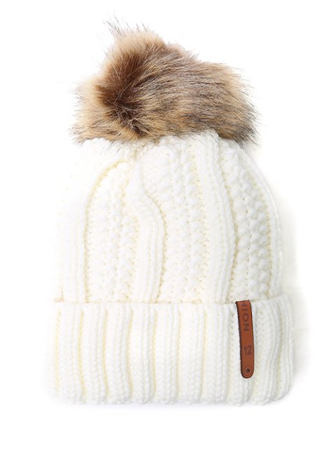 sale Striped Pom Ball Knitted Beanie - WHITE  Mobile