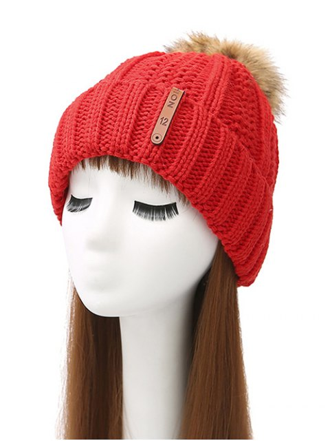 affordable Striped Pom Ball Knitted Beanie - BRIGHT RED  Mobile
