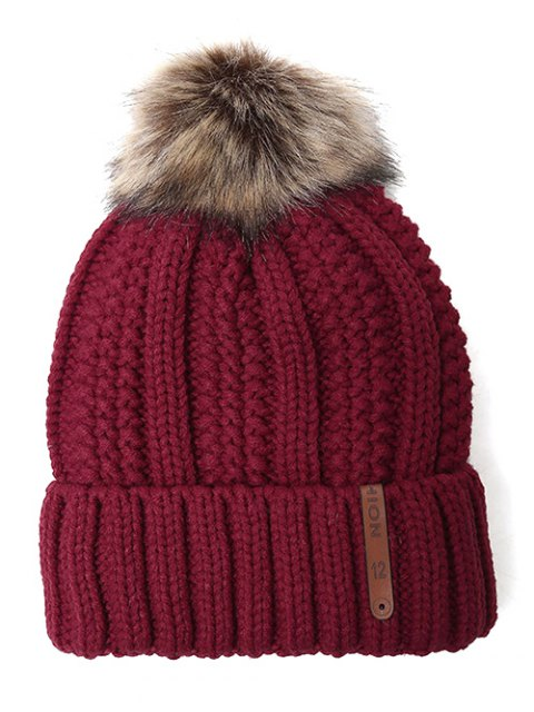 buy Striped Pom Ball Knitted Beanie - WINE RED  Mobile