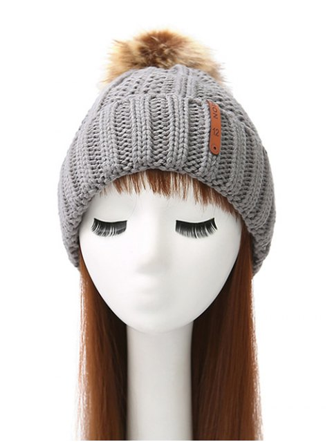 womens Striped Pom Ball Knitted Beanie - GRAY  Mobile