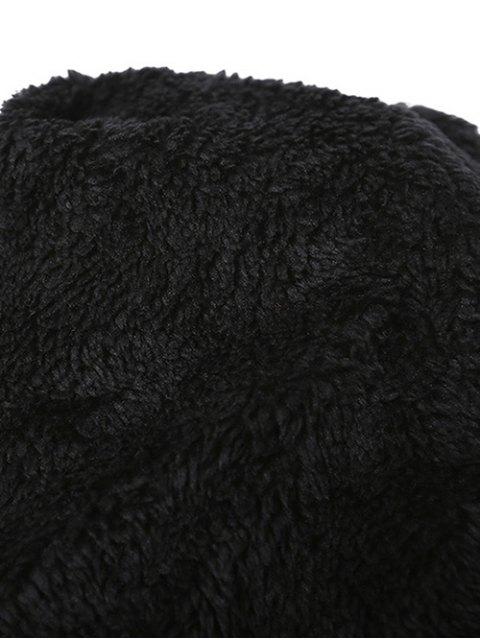 online Letter C Pom Ball Knitted Beanie - BLACK  Mobile