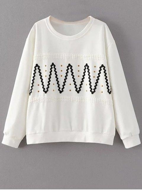 chic Zig Zag Round Collar Rivet Sweatshirt - WHITE L Mobile