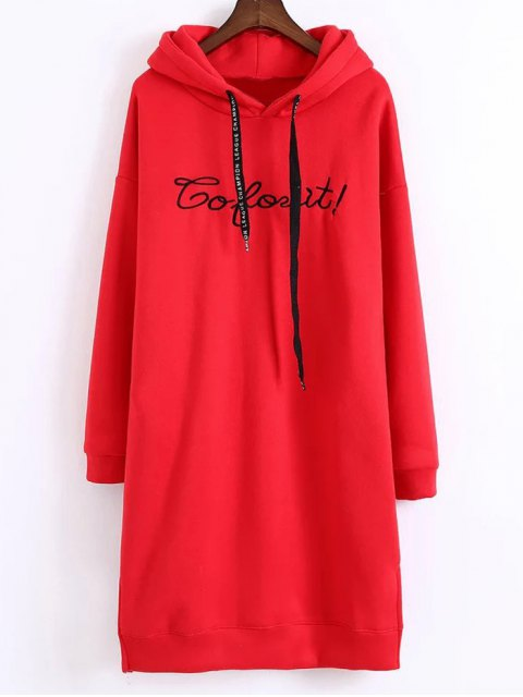 buy Letter Embroidered Hoodie Dress - RED ONE SIZE Mobile