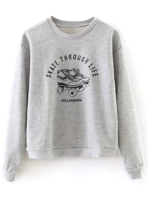 affordable Ice Skates Print Pullover Sweatshirt - GRAY M Mobile