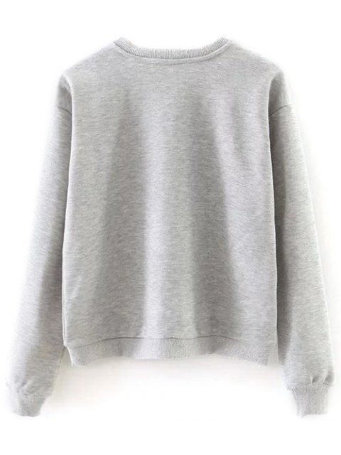 sale Ice Skates Print Pullover Sweatshirt - GRAY L Mobile