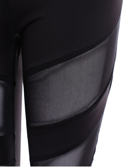 womens Running Mesh Insert Leggings - BLACK S Mobile