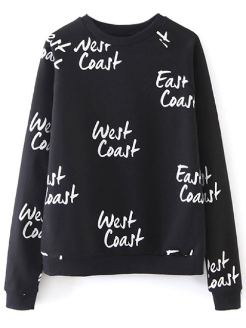 women West Coast Raglan Sleeves Sweatshirt - BLACK M Mobile