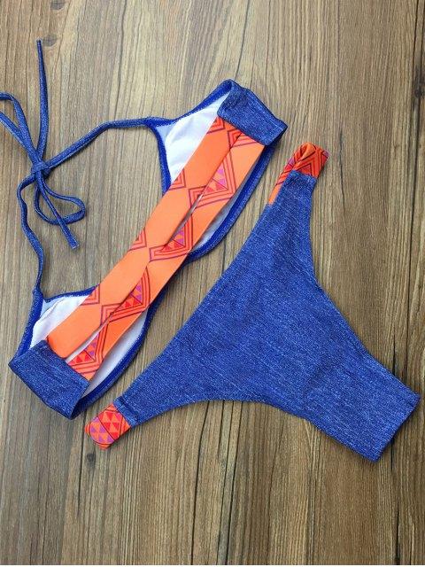 latest Tribal Print Halter Padded Bikini - BLUE M Mobile