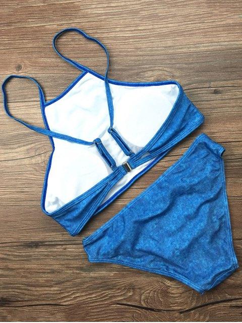 chic Padded High Collar Bikini Set - BLUE L Mobile