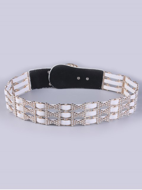 affordable Rhinestoned Hollowed Stretch Belt - OFF-WHITE  Mobile