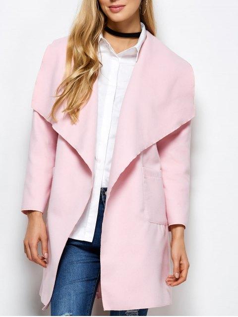 shops Wrap Woolen Coat With Pockets - PINK XL Mobile