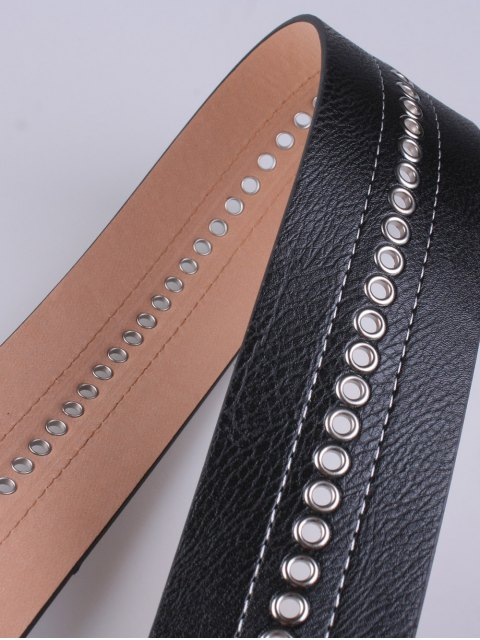 buy Hollowed Square Buckle PU Belt -   Mobile