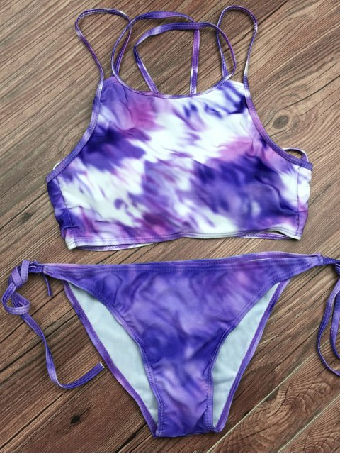 affordable Tie Dyed String Bikini Set - LIGHT PURPLE S Mobile