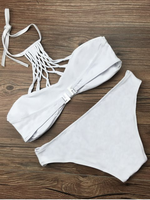 buy Cut Out Halter Strappy Bikini Set - WHITE XL Mobile