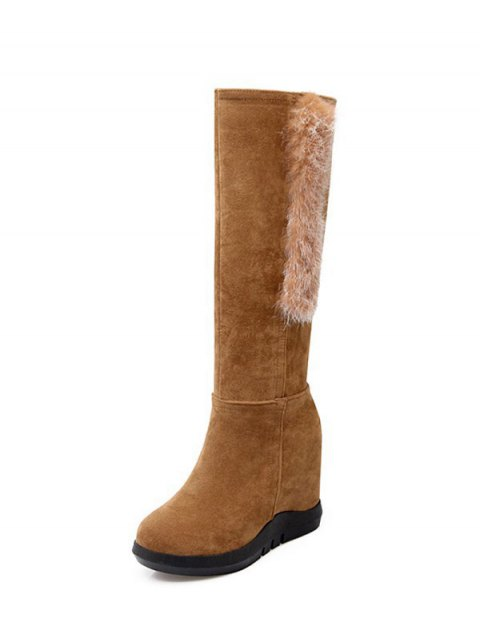 lady Faux Fur Mid Calf Hidden Wedge Boots - LIGHT BROWN 39 Mobile