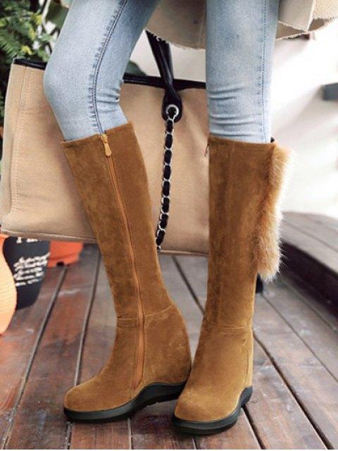online Faux Fur Mid Calf Hidden Wedge Boots - LIGHT BROWN 38 Mobile
