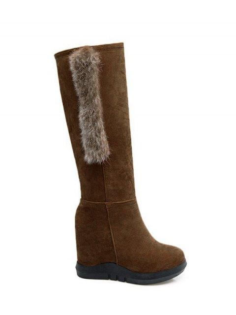 hot Faux Fur Mid Calf Hidden Wedge Boots - DEEP BROWN 37 Mobile