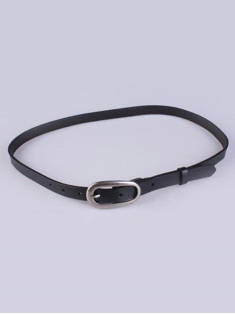women Faux Leather Pin Buckle Skinny Belt - BLACK  Mobile