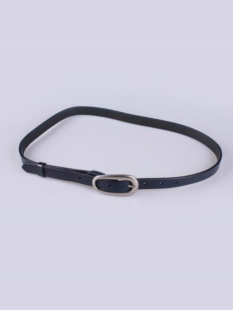 ladies Faux Leather Pin Buckle Skinny Belt - DEEP BLUE  Mobile