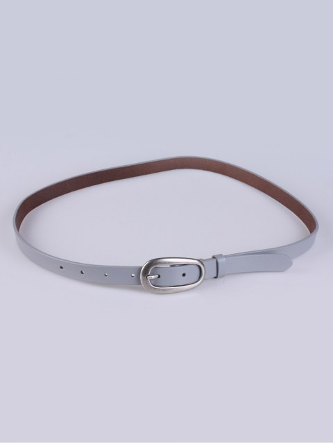 lady Faux Leather Pin Buckle Skinny Belt - GRAY  Mobile