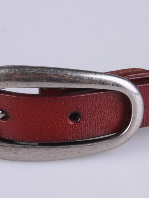 best Faux Leather Pin Buckle Skinny Belt - BROWN  Mobile