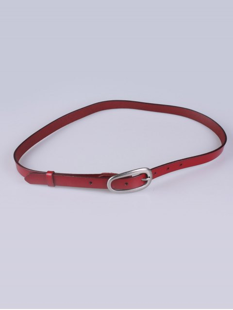 online Faux Leather Pin Buckle Skinny Belt - BURGUNDY  Mobile