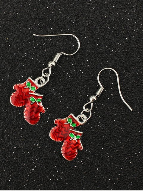 womens Christmas Bows Gloves Gift Earrings -   Mobile