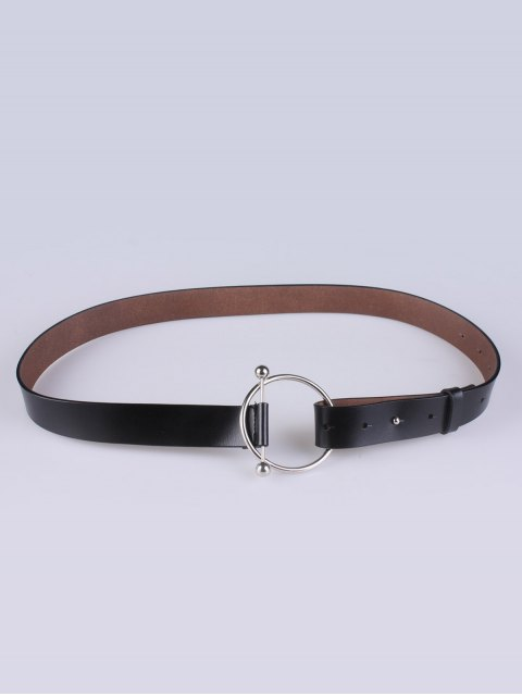new Skinny Round Buckle Faux Leather Belt - BLACK  Mobile