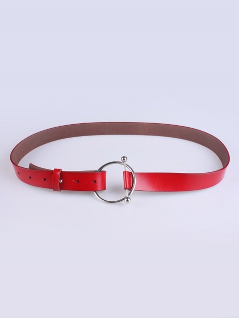 hot Skinny Round Buckle Faux Leather Belt - RED  Mobile