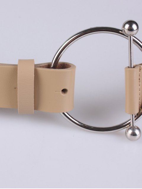 outfit Skinny Round Buckle Faux Leather Belt - KHAKI  Mobile