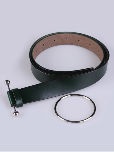 outfits Skinny Round Buckle Faux Leather Belt - DEEP GREEN  Mobile