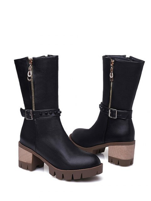 shops Rivet Buckle Chunky Heel Mid Calf Boots - BLACK 38 Mobile