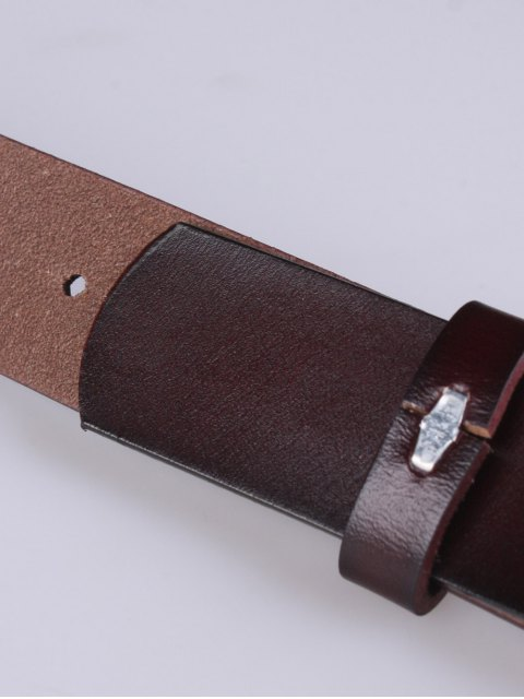 shop Skinny Round Buckle Faux Leather Belt - COFFEE  Mobile