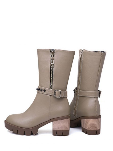 unique Rivet Buckle Chunky Heel Mid Calf Boots - GRAY 38 Mobile