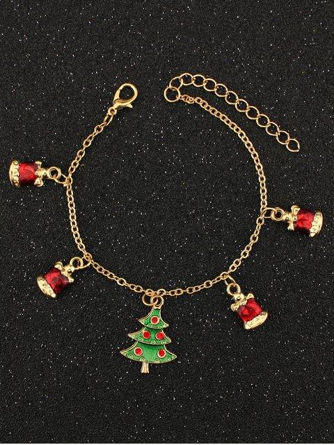 womens Christmas Tree Rhinestone Charm Bracelet -   Mobile