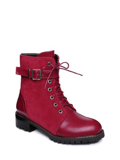 women Buckle Strap Suede Panel Combat Boots - RED 37 Mobile