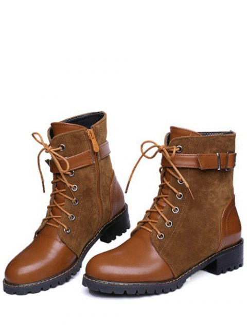 ladies Buckle Strap Suede Panel Combat Boots - BROWN 39 Mobile