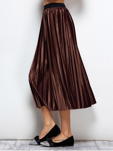 shops Accordion Pleat Midi Velvet Skirt - COFFEE ONE SIZE Mobile