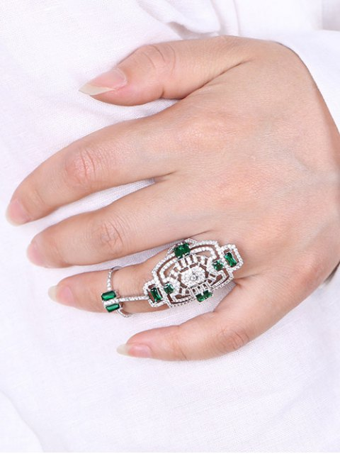 fancy Engraved Rhinestoned Geometric Hollow Out Ring - SILVER ONE-SIZE Mobile
