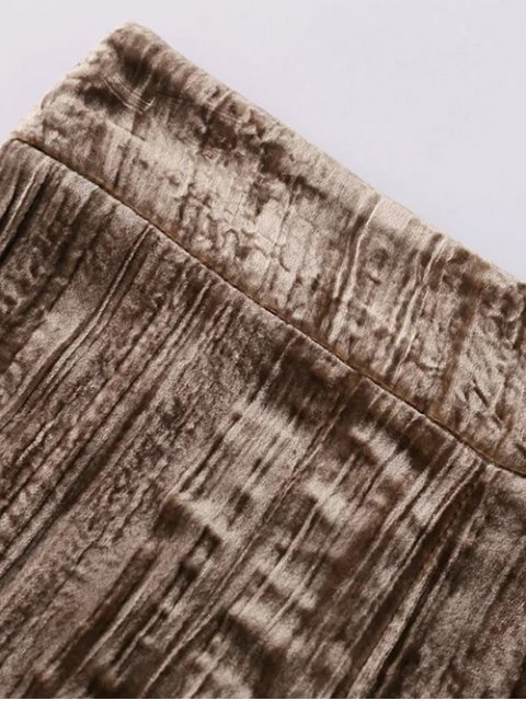 shops Velvet Pleated Pants - KHAKI M Mobile