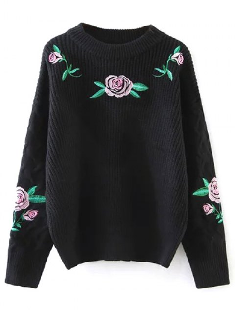 sale Rose Embroidered Sweater - BLACK ONE SIZE Mobile