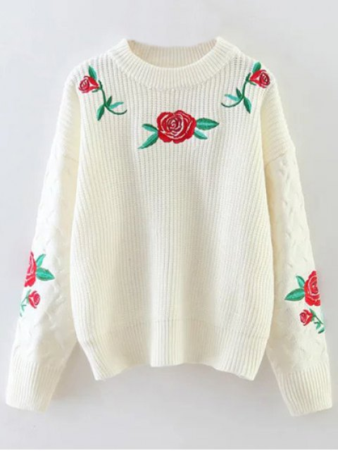 affordable Rose Embroidered Sweater - OFF-WHITE ONE SIZE Mobile