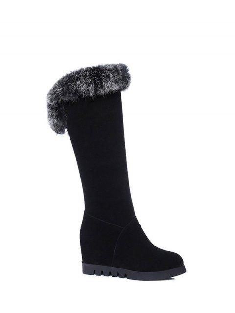 online Mid Calf Hidden Wedge Furry Boots - BLACK  Mobile