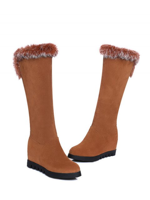 new Mid Calf Hidden Wedge Furry Boots - BROWN  Mobile