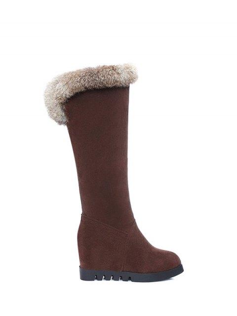 hot Mid Calf Hidden Wedge Furry Boots - DEEP BROWN  Mobile