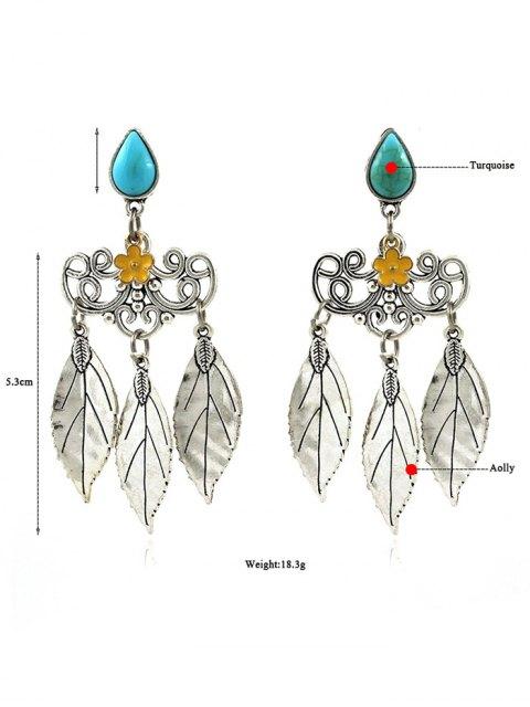 latest Artificial Gem Teardrop Leaves Flower Earrings -   Mobile
