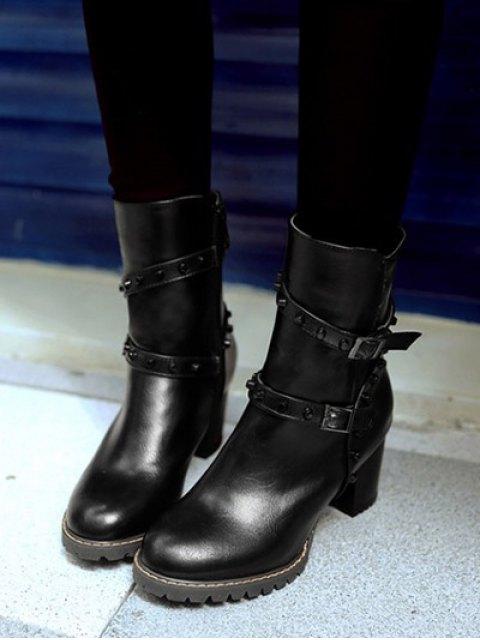 shop Buckle Straps Rivet Chunky Heel Boots - BLACK 39 Mobile